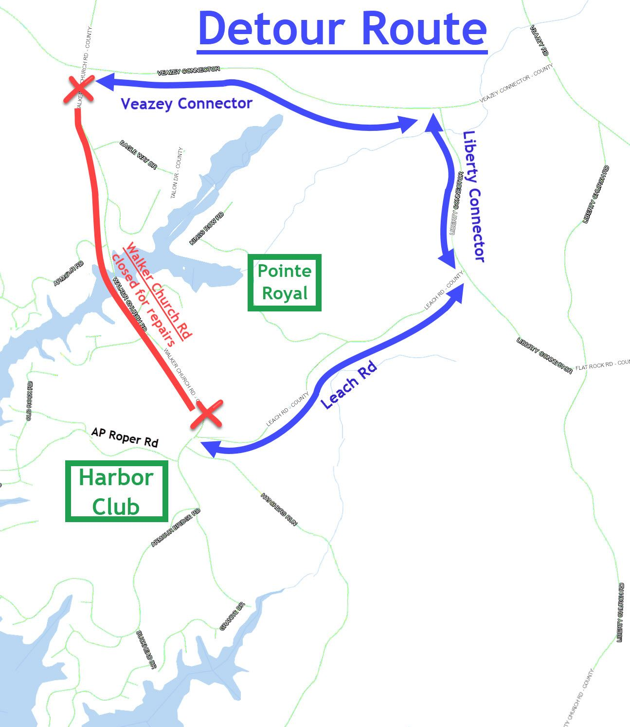 Map showing a detour for Walker Church Road